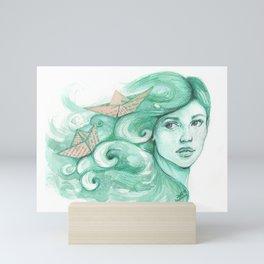 Paper ships Mini Art Print
