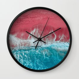 SPLASH II - Electric Pink Sand and Turquoise Waves Art Print Wall Clock
