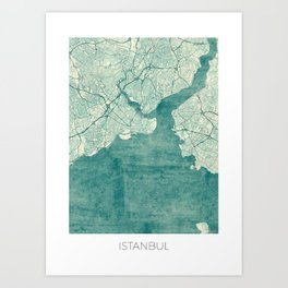 Istanbul Map Blue Vintage Art Print