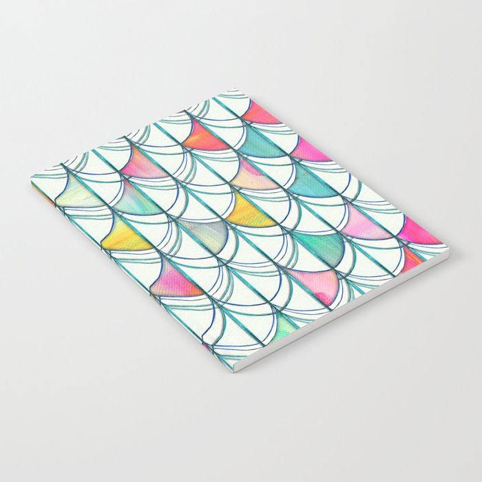 Pencil & Paint Fish Scale Cutout Pattern - white, teal, yellow & pink Notebook
