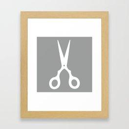 Grey Scissors Framed Art Print