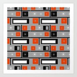 Mid Century Modern Grid Print - Orange, Black and White on Gray Art Print