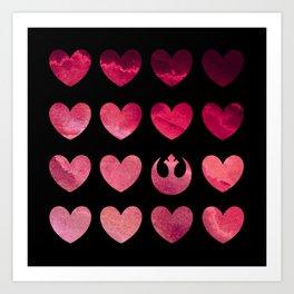 Watercolor Hearts and Rebel Symbol on Black Art Print