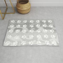 Puppy Paw Print Abstract Grey Rug