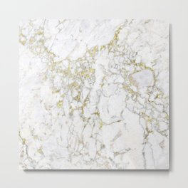 Gold and White Marble Metal Print