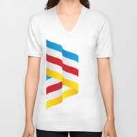 flag V-neck T-shirts featuring Flag by Kexit guys