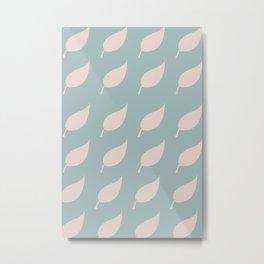 Pastel green leaf pattern - Illustration Metal Print