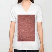 gold glitter V-neck T-shirts featuring ROSE GOLD GLITTER by I Love Decor