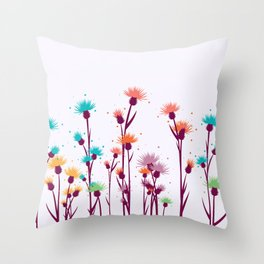 Cute watercolor flowers Throw Pillow