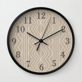 Cream Linen Beige Arrows Pattern Wall Clock
