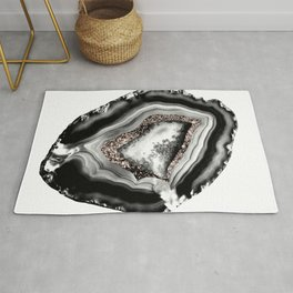 Agate Rose Gold Glitter Glam #1 #gem #decor #art #society6 Rug