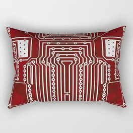 Red Geek Motherboard Circuit Pattern Rectangular Pillow