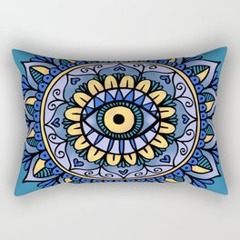 Third Eye Mandala Blue Gold Rectangular Pillow