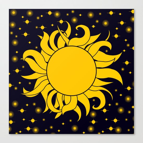 Bold Yellow Sun & Stars On Dark Blue Canvas Print