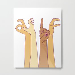 AS IF - hand signs Metal Print