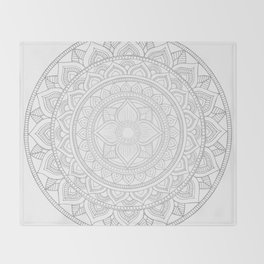 Bali Mandala - Neutral Grey Throw Blanket