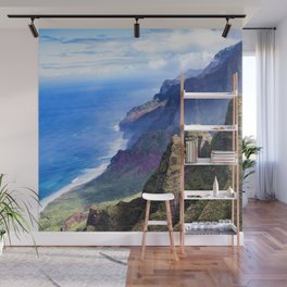 Hawaiian Coastal Cliffs: Aerial View From The Angels Wall Mural