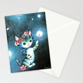 Space Witch Cat handcut collage Stationery Cards