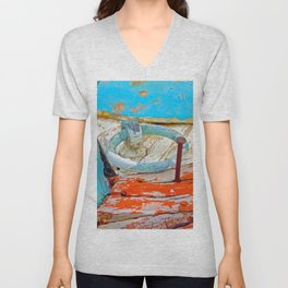 A boat that was washed ashore on Ageon Sea, decaying in the sun. Unisex V-Neck