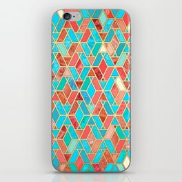 Melon and Aqua Geometric Tile Pattern iPhone Skin
