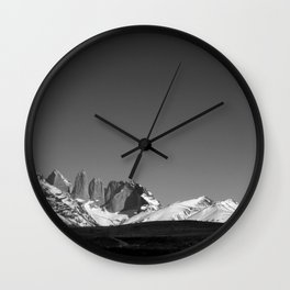 Torres del Paine Black and White Wall Clock
