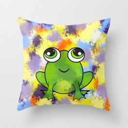 Cute frog and fresh paint Throw Pillow