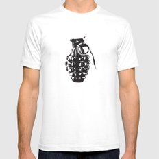 Hand Grenade SMALL Mens Fitted Tee White
