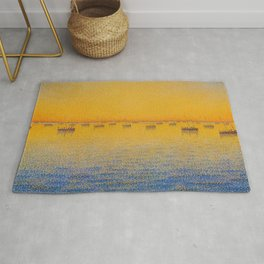 Classical Masterpiece 'Setting Sun and Boats' by Paul Signac Rug