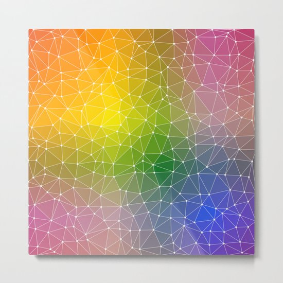 Triangulated Rainbow Dotted Pattern Metal Print