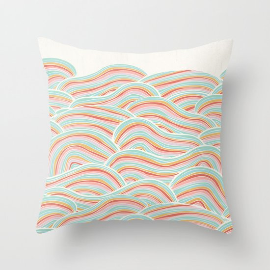 Summer Sea Waves Throw Pillow
