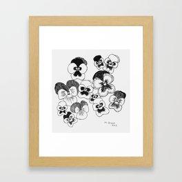 pansies black and white Framed Art Print