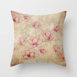 Vintage Shabby Pink Magnolia on Antique White Throw Pillow