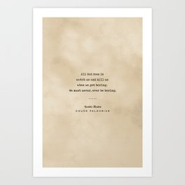 Chuck Palahniuk Quote 04 - Typewriter Quote on Old Paper - Minimalist Literary Print Art Print