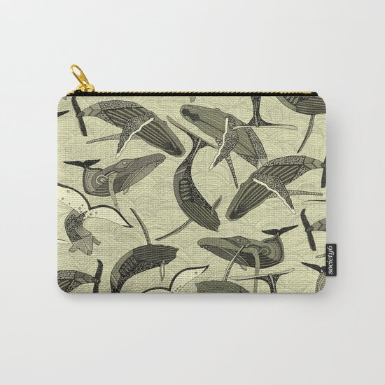 whales and waves natural Carry-All Pouch