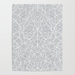Abstract Lace on Grey Poster