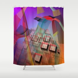 Modern geometric abstract with 3-d effects Shower Curtain
