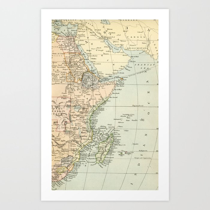 North East Africa Vintage Map Art Print by graphikz | Society6