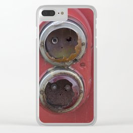 Broken tail lights of old red tram Clear iPhone Case