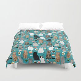 Cat Sushi pattern by pet friendly cute cat gifts for pet lovers foodies kitchen Duvet Cover