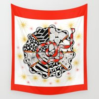 christ Wall Tapestries featuring Its Your Birthday- Zentangle Illustration by Vermont Greetings
