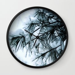 Snow Laden Pine - A Winter Image Wall Clock