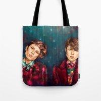 tegan and sara Tote Bags featuring Tegan & Sara by Miriam R. Kent