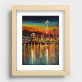 Seattle from Alki Recessed Framed Print