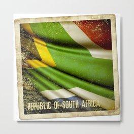 South Africa grunge sticker flag Metal Print