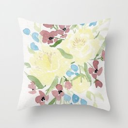 Yellow Loose Floral Bouquet watercolor painting Throw Pillow