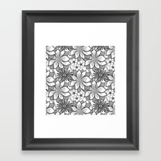 Black and White Floral Drawing Framed Art Print