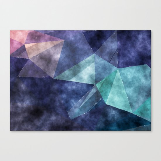 The deep blue sea- Watercolor triangles pattern in blue colors Canvas Print