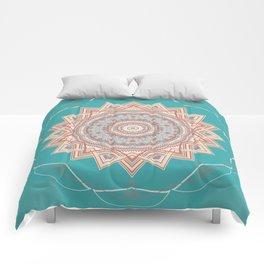 Bright Aqua Star Mandala Design Comforters