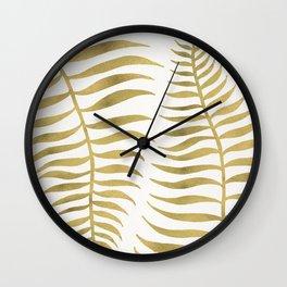 Golden Palm Leaf Wall Clock