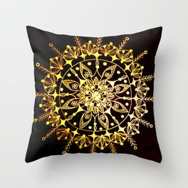 Gold Metallic Mandala on Black Background #2 Throw Pillow